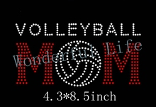 YX Free shipping hot fix rhinestone motif designs volleyball mom with ball red  white crystal 20PCS like to buy all