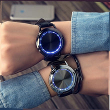 Trendy Creative Fashion LED Simple Smart Touch Screen Watch Electronic Watch Male And Female Couple(China)