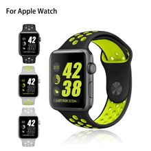 Official 4 Colors Soft Flexible Silicone Breathable Sport Watchband for Nike for Apple Watch Band Rubber for Iwatch Strap 1 or 2