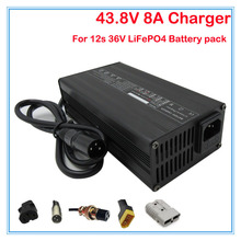 360W 43.8V 8A LiFePO4 battery Charger 36V 8A Fast charger XLRM Port with aluminum case Used for 12S 36V LiFePO4 LFP battery