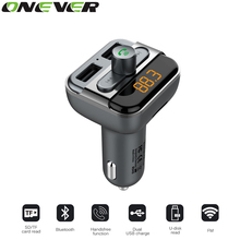 Onever Bluetooth Car Kits MP3 Player With TF Card Slot 2 USB Port Car Charger FM Transmitter Modulator Handsfree Phone Calling(China)