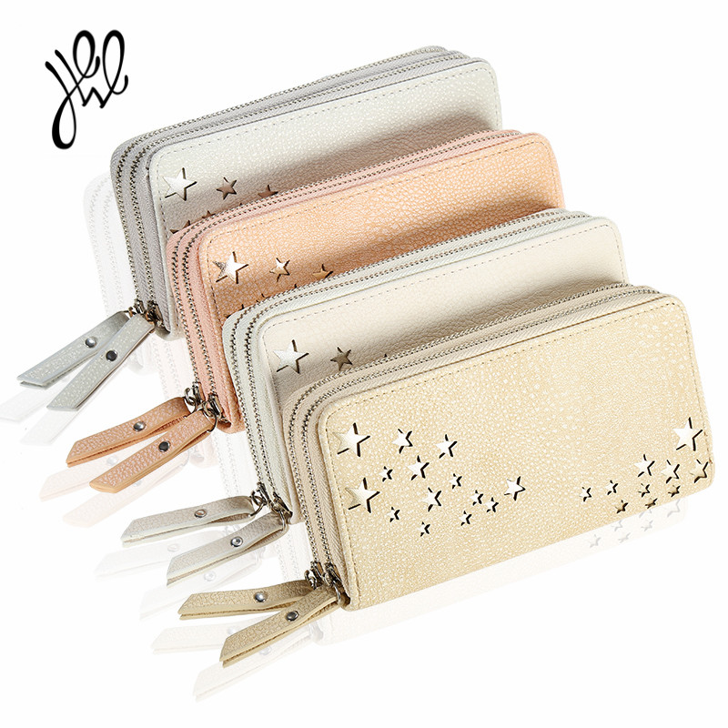 2017 New Money Bag Women Wallet 2 Zippers Dollar Price Long PU Leather Lady Purse Hollow Star Wallets Double Zippers 500562