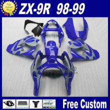 Customize motorcycle fairings for Kawasaki Ninja fairings ZX 9R 1998 1999 zx9r 98 99 silver blue fairing parts+7Gifts