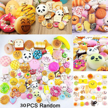 30pcs DIY Soft Funny Squishy Slow Rising Jumbo Squeeze Toast Cake Bread Panda ice Cream Cell Phone Straps Toy Phone Decoration(China)