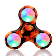 2017 New Hand Spinner Court Pattern LED Light Fidget Hand Spinner Stress Relief Manipulative Play Toy Toys Gags & Practical Joke(China)