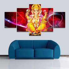 Canvas Painting Framework Elephant God Picture Wall Art Home Decoration For Living Room 5 Panel Ganesh Modern Printing Type(China)
