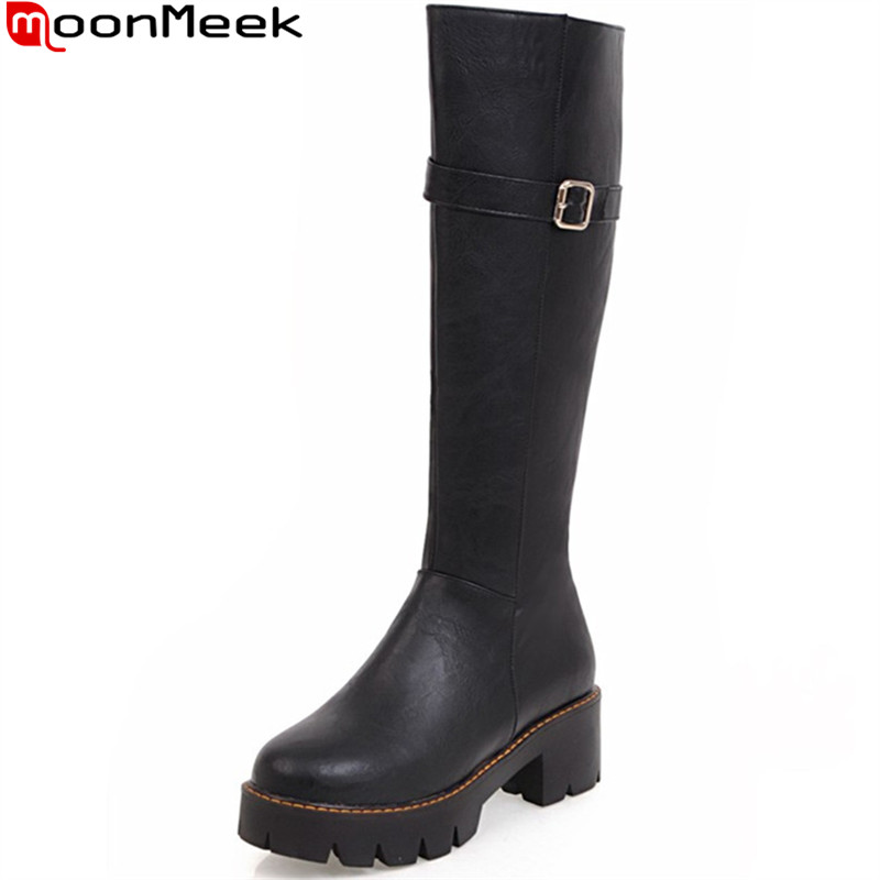 MoonMeek 2018 new arrive women boots round toe zipper autumn winter ladies boots black brown apricot knee high boots<br>