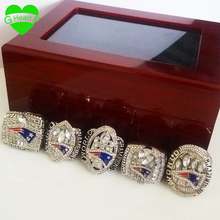 New England patriots Free Shipping Replica Super Bowl 5 Years 2001/2003/2004/2014/2017 ring set With Wooden Box(China)