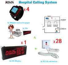 (1 Display+4 Watch+28 Buttons)Wireless Nursing Calling System for Old, Disabled People, Hospital Emergency Center Watch Receiver