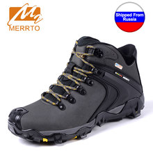 Shipped From Russia MERRTO Men Waterproof Hiking Shoes Snow Boots Professional Outdoor Cowhide Walking Boot Sneakers Athletic(China)