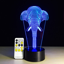 Taobao explosion colorful night light 3D elephant LED lamp creative gift Nightlight touch light products
