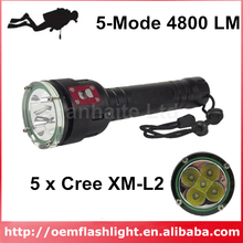 KDD502 5 x Cree XM-L2 U2 5-Mode 4800 Lumens Diving LED Flashlight