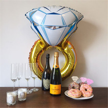 Hot Lover Wedding&Propose Marriage decoration Balloon Diamond Balloon Bride Ring Engagement Foil Valentine Balloons Party Toys(China)