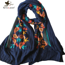 New Fashion Mori Girl Floral Scarfs and Wraps Japanese Ethnic Style Embroidered Scarves and Shawls for Women Cotton Bandana