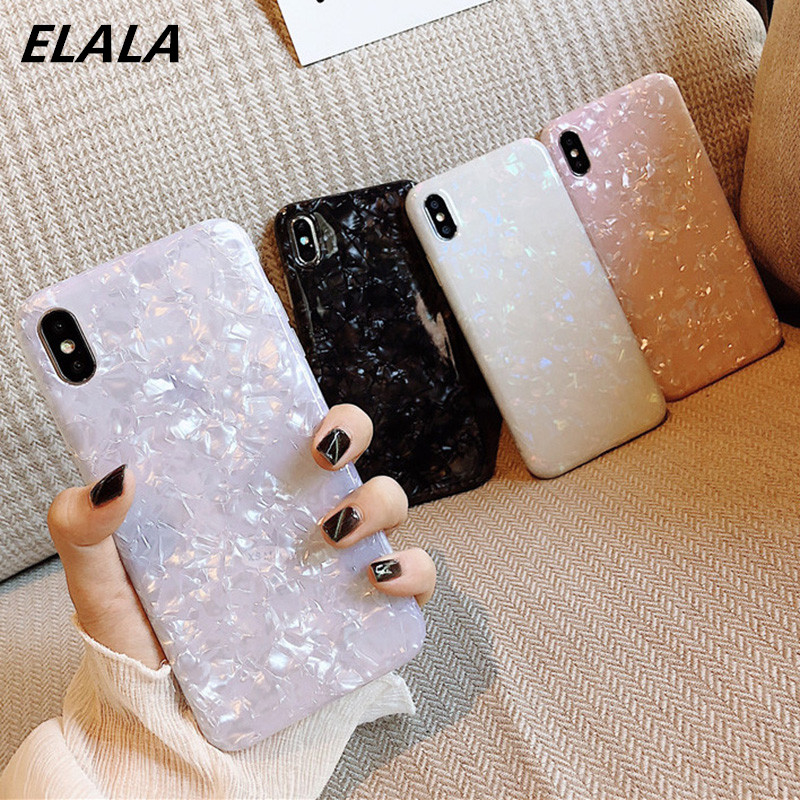 ELALA Glossy Marble Case For iphone 6 7 8 Plus X XS Max XR Bling  Conch Shell Epoxy Silicone Glitter Soft TPU Cover For iPhone 7(China)