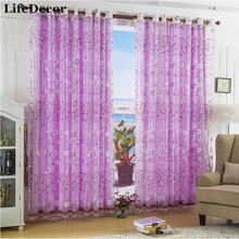 Cheap Purple Dandelion rustic screens curtains / bedroom / explosion models Hot Low price window curtain(China)