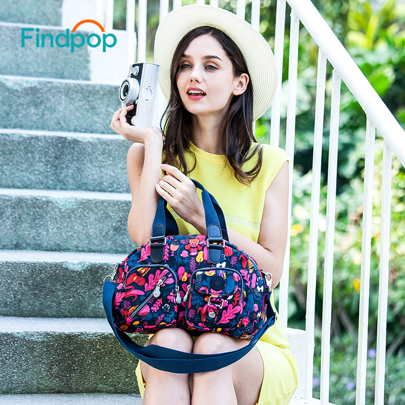 Findpop Flowers Printing Handbags Women Fashion Casual Crossbody Bags For Women 2018 New Waterproof Canvas Crossbody Totes Bags<br>