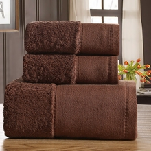 Cozzy Luxury Indian Combed Cotton Hotel Towel Set for Bathroom 3-pcs Plush 1 Bath Towel 70x140cm 2 Hand / Face Towels 750g Brown(China)