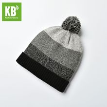 2017 KBB Spring Hot Style Comfy Gray Women Men Designer Lambswool Wool Yarn Knit Pom Pom Winter Hat Beanie Cap(China)