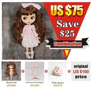 230BL9158 Livraison gratuite Neo Blyth Doll Conjointe Long Brun cheveux Avec Une Frange rose vêtements rose chaussures mat visage BJD