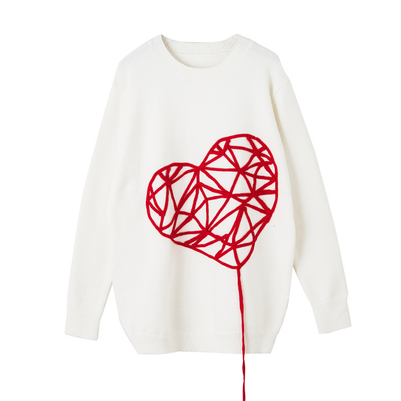 PERHAPS U women knitted pullovers white heart o neck long sweater loose winter M0054