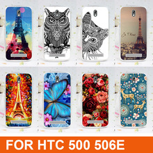 2015 new fashion diy 3d painted colored Cartoon Transparent Side Back Cover Hard Plastic Phone Case For HTC Desire 500 506e