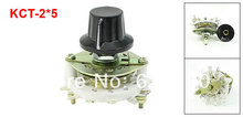 KCT-2*5 2P5T 2 Pole 5 Throw Position TV Radio Band Channel Selector Ceramic Rotary Switch w Plastic Knob
