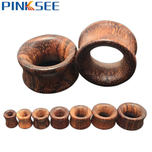 Gothic Brown Rose Wood Ear Plugs For Men Women Ear Gauges Flesh Tunnels Expander 1 Pair Body Piercing Jewelry 8 -20mm Drop Ship