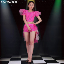 Nightclub Bar Female Singer Lead dance Performance clothing Jazz DJ DS Costumes Party Teams Cheering squad Show outfit costumes(China)