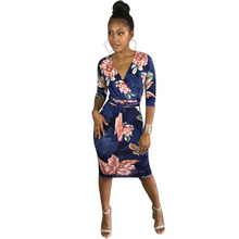 YJSFG HOUSE Sexy Ladies V-neck Evening Party Dresses Causal Long Sleeve Floral Print Package Hip Dress Vintage Autumn Slim Robe(China)