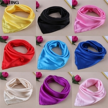 1 pcs hot 60*60cm Solid Color Small Square Satin Artifical Silk Scarf for Ladies Women's Scarves Handkerchief