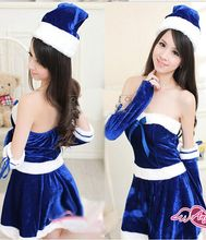 2017 Christmas Strapless Blue Bow Dress Dancing Night Club Santa Claus Costumes Sexy Lovely Suit For Girls(China)