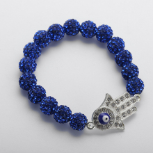 Free shipping 10mm pave ball bracelets Disco Balls crystal evil eye hamsa hand Bracelet For Women Shamballa Jewelry