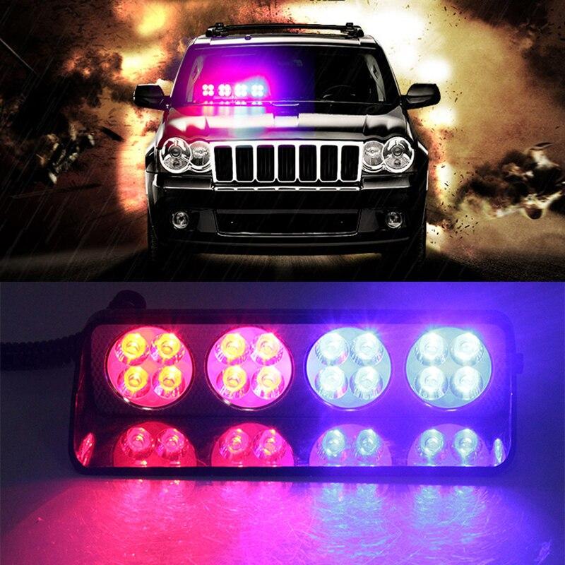 16Leds Police Lights 16 LED Red/Blue Car Sucker Strobe Flash Warning Light Dash Emergency Flashing Lights 12V Windshield Lamp<br>