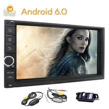 Backup Camera + Double Din GPS Navigation Car Radio Stereo Android 6.0 Bluetooth WIFI Screen Mirroring 3G/4G OBD SWC 32GB USB SD