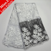 Miss.L Good Quality African Tulle Lace Fabric New arrival French Net Lace Fabric Special two colors patchwork FREE shipping(China)