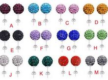10mm Clay Mixed white Crystal Micro Pave Disco Ball Silver Plated Shamballa Earrings Dorp Studs jewelry dangles lot gift ly3542(China)