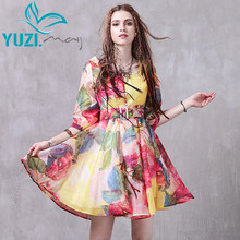 2017 Summer Dress Yuzi.may Boho New Organza Vestidos Half Sleeve Square Collar Belted Floral Print Swing Hem Women Dress A8216