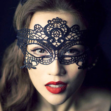 1 PC Black Girls Women Sexy Lady Lace Mask Cutout Eye Mask for Masquerade Party Fancy Dress Costume