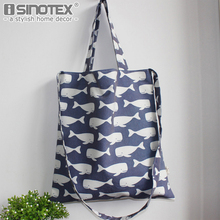 Blue Whale Printed Tote Storage Bags Convenience Shoulder Handbags Linen Bag For Food 1PCS/Lot(China)
