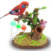 voice control bird,mushroom lights ornament sound birdcall simulation bird about 19x25cm,home decoration creative toy gift a2089(China)