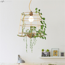JW Korean Style Modern Light Creative Green Potted Plant Lamp Nordic Designer for Living Room Restaurant Bedroom Chandelier(China)