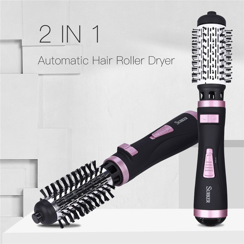 Hairdressing Styling Tools Powerful 2 In 1 Multifunctional Hair Dryer Automatic Rotating Hair Brush Roller Curler Styler EU Plug<br>
