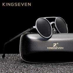 Мужские солнцезащ.очки в кругл. оправе KINGSEVEN, черно-серые солнцезащитные очки в круглой алюминиевой винтажной оправе в стиле панк с поляризо...