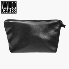 Black leather Cosmetic bag women Fashion makeup bag 2016 Fashion trousse de maquillage Zipper pencil case travel organizer bag