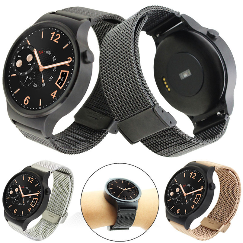 Black Sliver Stainless Steel Mesh Replacement Watch Band Strap For Huawei Watch 42mm Wristband<br><br>Aliexpress