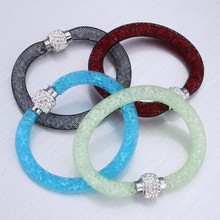 Hot Fashion Bracelet Bangles Bling Austria Rhinestone Mesh Bracelet of Crystal Jewelry Tube Magnetic Clasp Bracelet Femme(China)