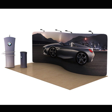 20ft Custom S shape tension fabric trade show displays booth exhibits pop up banner stand
