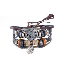 Hot new design charm leather bracelet retro hip-hop style Christmas gift good quality low price H142