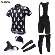 2017 Pro Team Cycling Full Sets 6pcs Cycling Jersey Set Men Jersey with Hat Sleeves Leg Warmer Shoes Cover Bicycle Jerseys Set